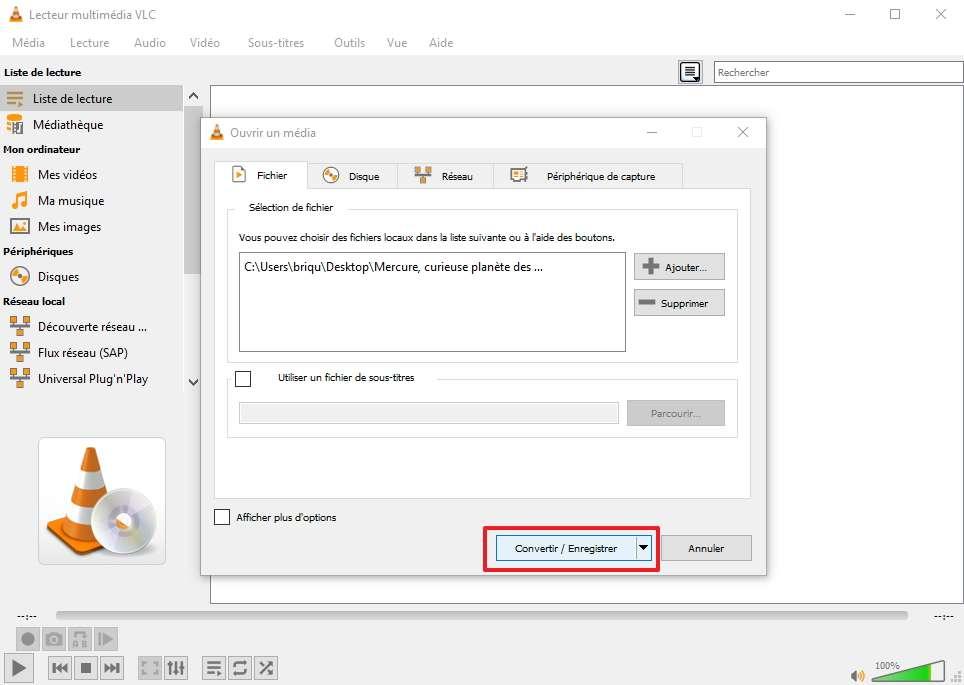 De retour sur la page précédente, cliquez sur Convertir/Enregistrer. © VideoLAN
