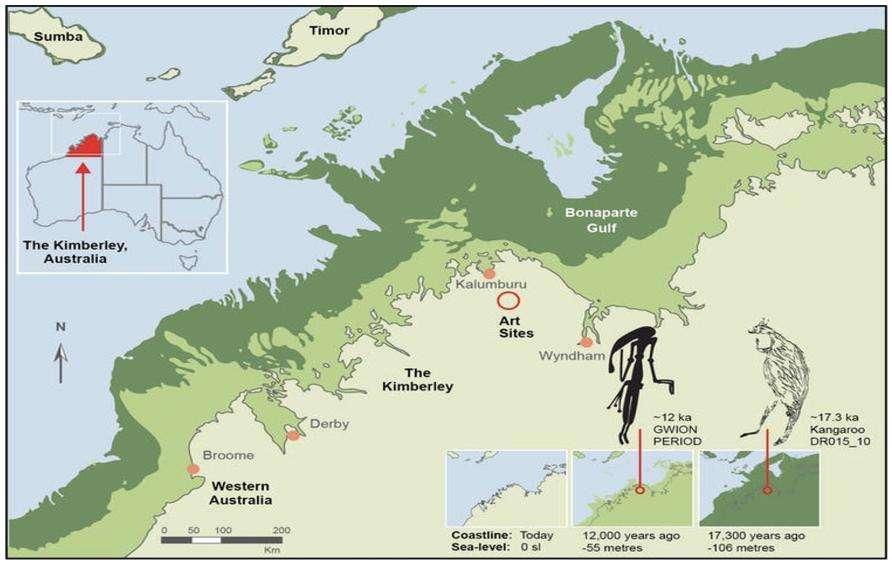 Carte de la région de Kimberley, en Australie occidentale, montrant le littoral à trois époques différentes : époque actuelle, il y a 12.000 ans (période Gwion) et 17.300 ans (la fin antérieure de la période naturaliste connue). © Pauline Heaney et Damien Finch