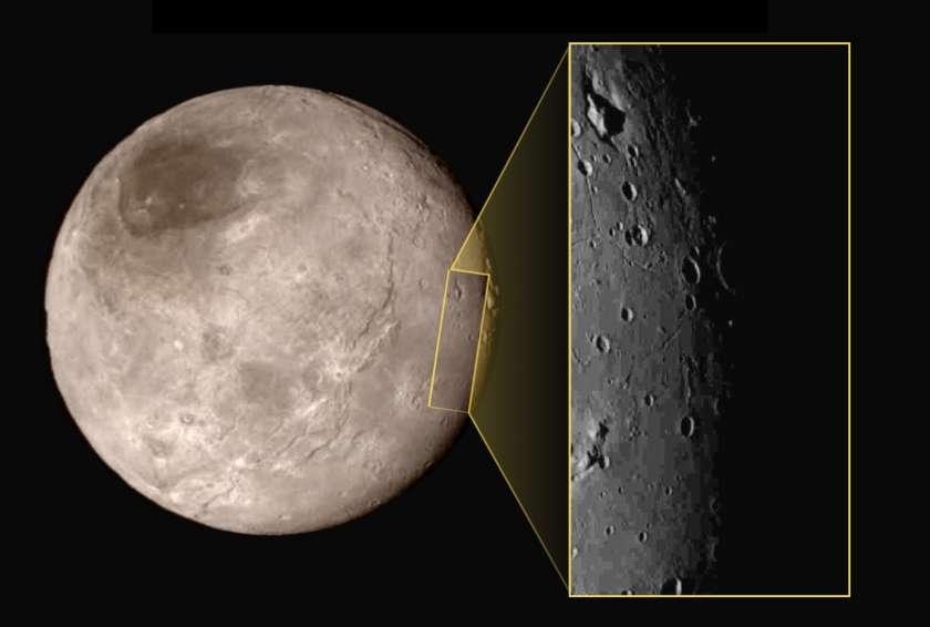 Charon vue de loin et de plus près lors du survol du 14 juillet. On remarque tout de suite le chapeau sombre (un sombrero ?), situé au pôle nord et sans doute composé de matière organique, mais laquelle ? En insert, la partie survolée, avec des cratères, peu nombreux. En haut à droite, on remarque un profond sillon. Il mesure mille kilomètres de longueur et on en ignore la nature. D'autres structures sont visibles en surface. Reste à savoir comment s'est formé ce relief. © Nasa/JHUAPL/SWRI
