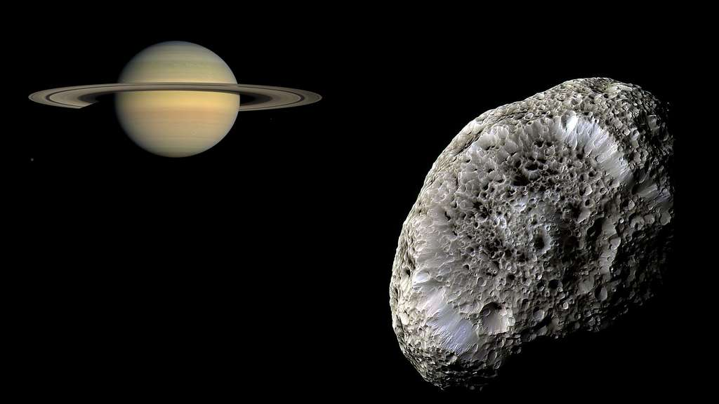 Saturne et son satellite Hypérion