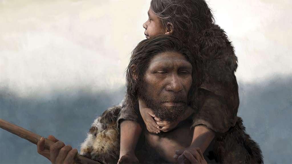 Vue d'artiste d'un Homme de Néandertal et de sa fille. © Tom Björklund
