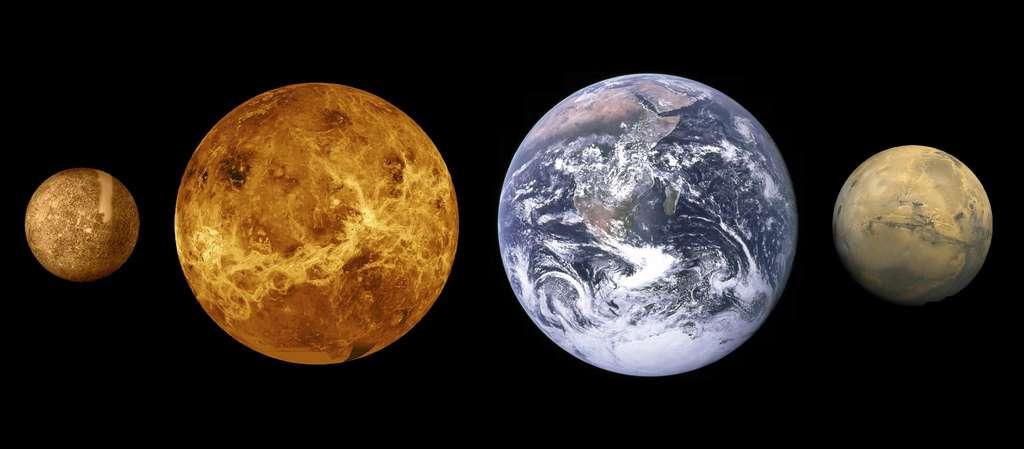 Mercure, Vénus, la Terre et Mars sont à l'échelle sur ce montage photo. © Nasa