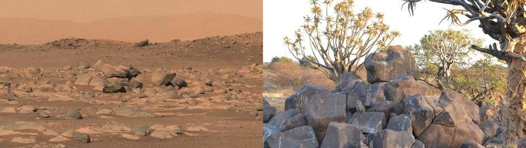 Dans le cratère Jezero, observé par Perseverance, ce champ de roches massives et de formes arrondies fait penser à un chaos mais dont la nature reste à déterminer. © Nasa, JPL-Caltech, ASU, MSSS. À titre de comparaison, l'image de droite montre un chaos de basalte en Namibie. © Pierre Thomas