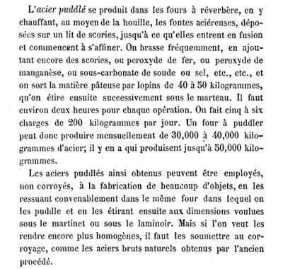 Texte de l'époque concernant le fer puddlé