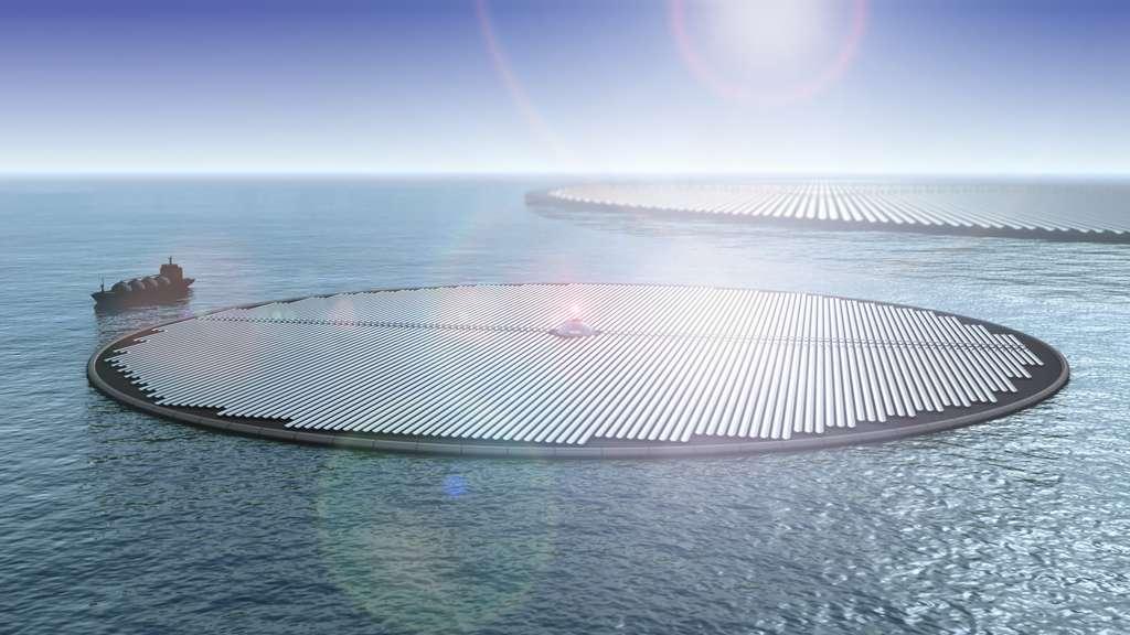 Chaque cluster de 70 îles permettrait de produire 1,75 tonne de méthanol par heure. © Novaton