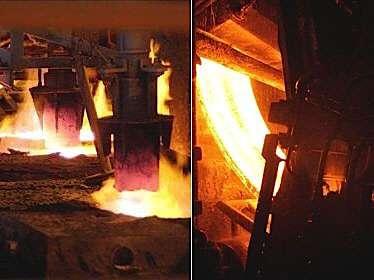 À gauche : coulée d'acier liquide au début du processus. À doite : brame d'acier en cours de solidification en bas de la coulée continue. © Arcelor Mittal