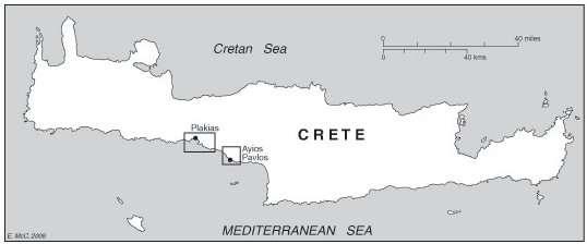 Les sites d'où proviennent les outils qui viennent d'être découverts sont situés sur la côte sud de la Crète. © Ministère grec de la culture et du tourisme