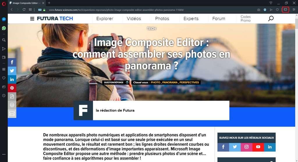 Visualisation d'un article sur Futura-Sciences avec Opera en mode normal. © Opera Software