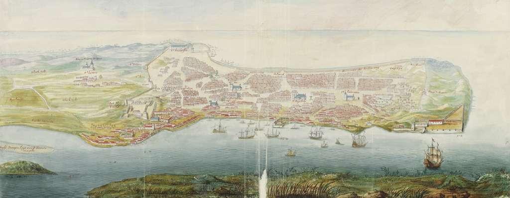 Aquarelle représentant la ville et port de Macao vers 1665, par Johannes Vingboons. Archives nationales des Pays-Bas, La Haye. © Wikimedia Commons, domaine public