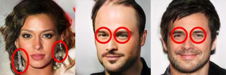 Des boucles d'oreilles asymétriques, deux yeux qui ne regardent pas dans la même direction ou de couleurs différentes : des indices qui peuvent laisser penser que la photo est l'œuvre d'un robot. © capture d'écran Kyle McDonald