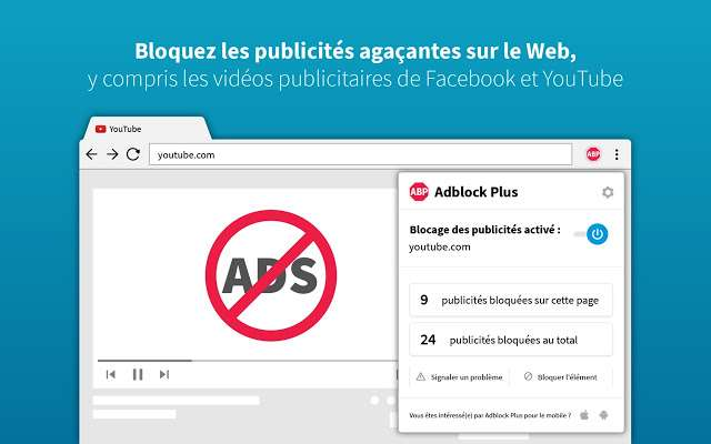 Adblock Plus est installé dans Chrome par plus de 10 millions d'internautes pour bloquer les publicités qui s'affichent sur les sites Internet. © Adblock Plus