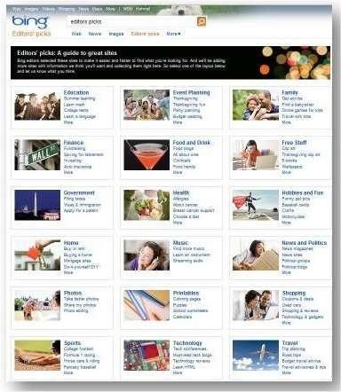 Editor's Picks : une tentative de Microsoft, encore à l'état de prototype, pour proposer une sélection de sites dans différents domaines, choisis par des éditeurs. © Microsoft