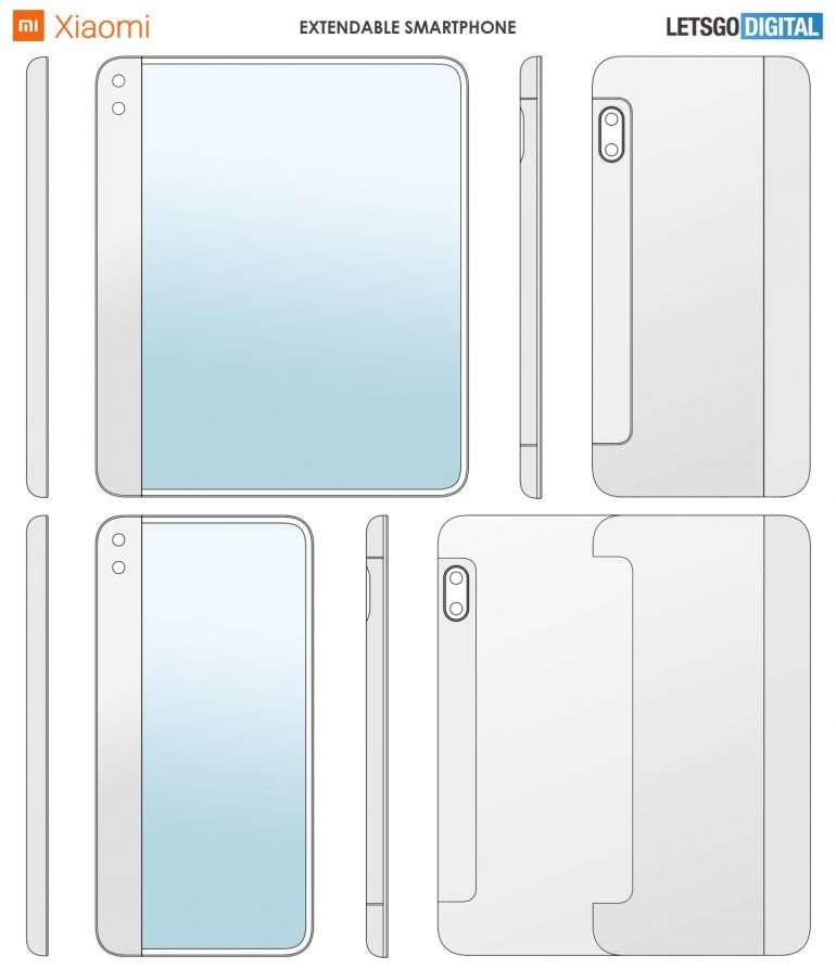 Sur les croquis, on constate que l'épaisseur du smartphone ne varie pas selon que l'écran est déplié ou pas. © Letsgo Digital