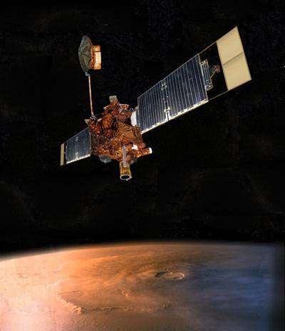 Mars Global Surveyor en orbite martienne (image d'artiste) - Crédit Nasa