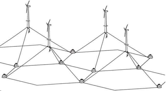 Des scientifiques du MIT ont imaginé des points d'ancrage, pour que les éoliennes flottantes puissent stocker l'électricité produite en excès. Ces sphères en béton creuses devraient peser plusieurs milliers de tonnes, et mesurer jusqu'à 35 m de diamètre. © Alexander Slocum, PERG, MIT