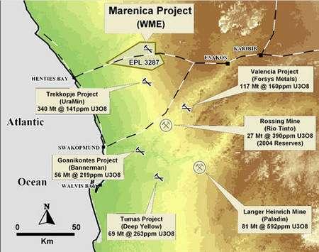 Carte des projets miniers concernant l'uranium en Namibie. Les mines sont distinguées des projets par un cercle. © DR
