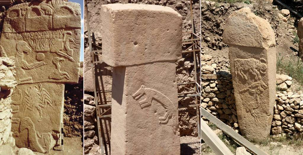 Stèles au temple de Göbekli Tepe. © Klaus Schmidt, Göbekli Tepe Archive, German Archaeological Institute, Alex Wang, Klaus-Peter Simon, CC by-sa 3.0