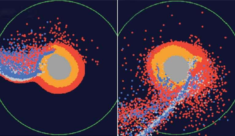 L'hypothèse des chercheurs de Yale explique aussi pourquoi la Lune contient plus d'oxyde de fer qu'il n'y en a sur Terre. Celui-ci, en effet, devait être plus abondant dans le magma prototerrestre. Ici, on découvre, au centre, une simulation de la proto-Terre. Les points rouges symbolisent les matériaux issus de l'océan de magma et les points bleus, ceux provenant de Théia. © Université de Yale