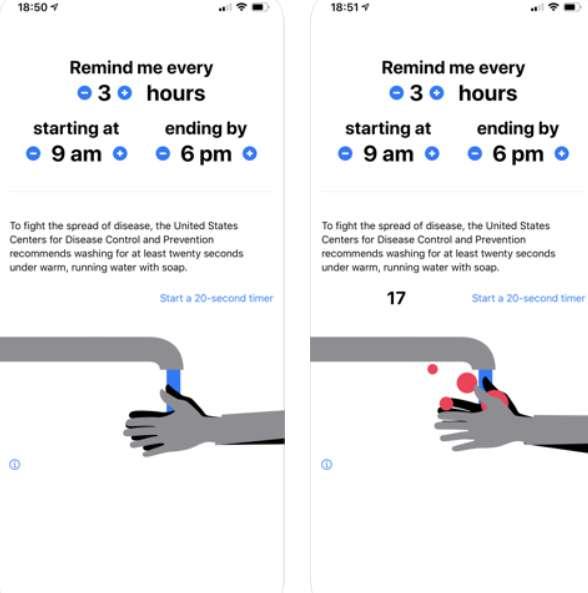 Sur l'App Store, on trouve des applications pour se mettre des alertes pour le lavage régulier des mains © Kona Farry
