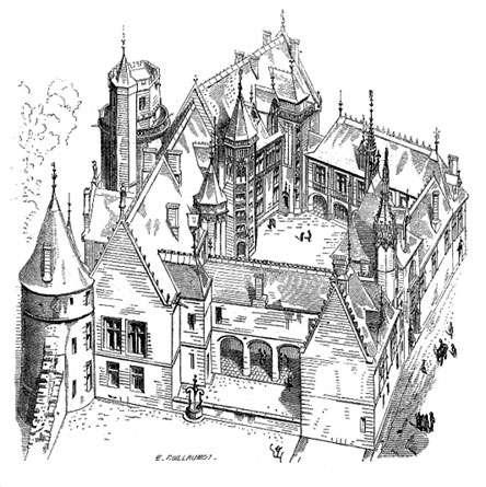 L'hôtel Jacques Cœur à Bourges est l'un des plus beaux édifices de l'architecture civile du XVe siècle. Son architecture et l'organisation du corps de logis préfigurent les modèles des hôtels particuliers de la Renaissance. © DP