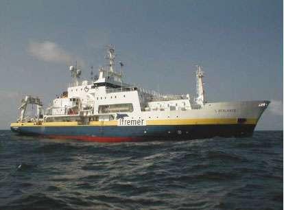 L'Atalante mesurera la température, la salinité des eauxet les courants marins dans le golf de Guinée. © Ifremer