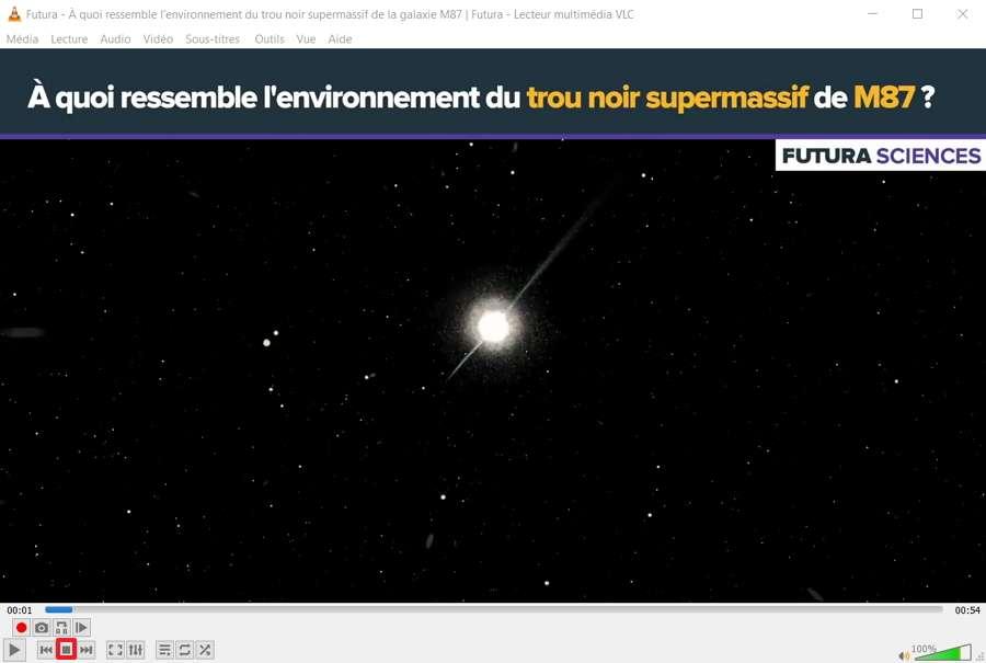 Stoppez la lecture de la vidéo grâce aux commandes situées dans la partie inférieure de l'interface. © VideoLAN