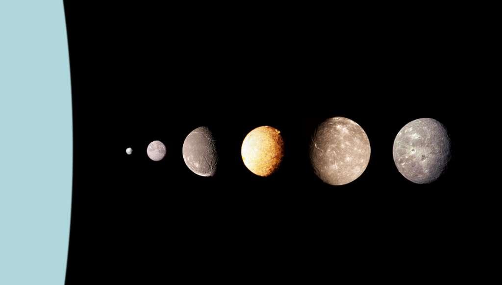 Montage des grands satellites d'Uranus et d'un satellite plus petit : de gauche à droite Puck, Miranda, Ariel, Umbriel, Titania et Obéron. Les photos originales ont été prises par la sonde Voyager 2 de la Nasa. Les proportions sont respectées. © Image réalisée par Vzb83 sur la base d'images de la Nasa