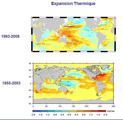 Variations spatiales du signal altimétrique dû à l'expansion thermique pour les périodes 1955-2003 et 1993-2008 (en mm/an). © Legos