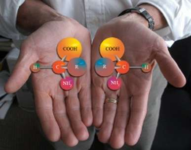 Un acide aminé, donc une molécule chirale, et son image miroir. Crédit : Argonne National Laboratory