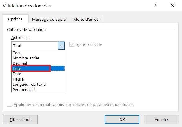 Optez pour « Liste » dans le menu sous « Autoriser ». © Microsoft