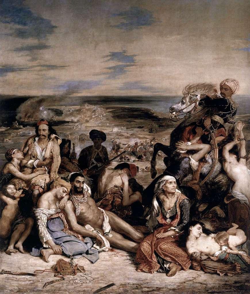 Les habitants de l'île de Chios massacrés par l'armée ottomane © Eugène Delacroix, Musée du Louvre, Wikimedia Commons, DP
