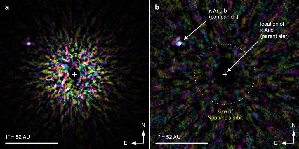 À gauche, l'image (en fausses couleurs) obtenue dans le proche infrarouge (longueurs d'onde entre 1,2 et 2,4 microns), montrant la lumière de Kappa d'Andromède, cachée (par logiciel) dans le disque noir marqué d'une croix blanche. La tache lumineuse en haut à gauche est l'image de l'exoplanète Kappa d'Andromède b. L'image de droite est le résultat d'un calcul sur celle de gauche, dans lequel a été soustrait le maximum de la luminosité que l'on peut attribuer à l'étoile. Restent le fond de ciel, des traces parasites de la lumière de l'étoile (parent star) Kappa d'Andromède (K And) et Kappa d'Andromède b (K And b). © NAOJ