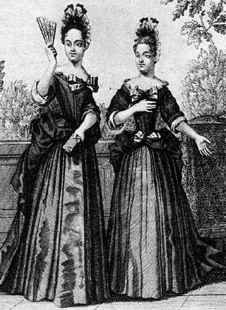 Demoiselles de Saint-Cyr, gravure de Nicolas Bonnard vers 1700. © Wikimedia Commons, domaine public.