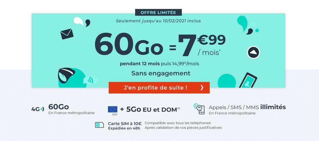 Promo sur le forfait 60Go pendant les soldes d'hiver © Cdiscount Mobile