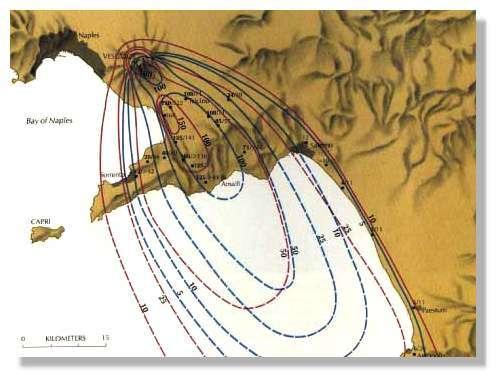 Epaisseur des dépôts pliniens en cm. Les courbes rouges correspondent aux ponces claires, les courbes bleues aux ponces foncées. Les dépôts sont allongées dans le sens du vent dominant lors de l'éruption et forment un ellipsoïde. On peut noter un léger changement de direction entre les deux ellipsoïdes. Schéma Sigurdsson et al, 1985