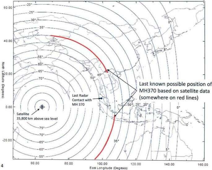 En rouge, les positions possibles du Boeing 777 disparu au moment du dernier contact par satellite (dont la position est indiquée par une croix, à 35.800 km d'altitude) et du dernier contact radar (last radar contact). L'avion était « quelque part sur les lignes rouges » (somewhere on red lines). © Gouvernement malaisien