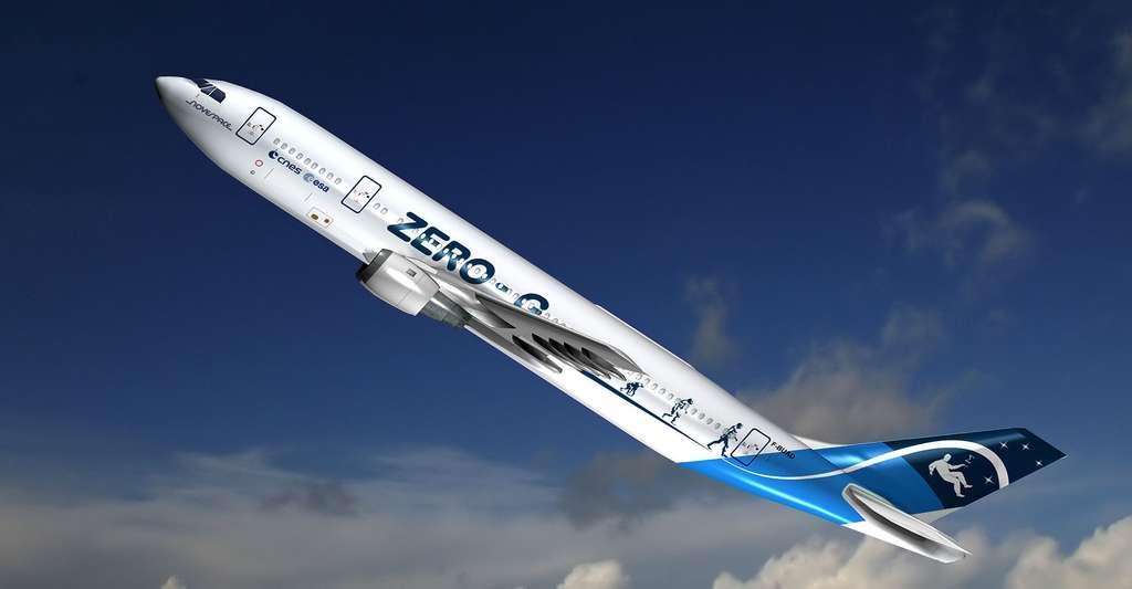 L'avion des paraboles est un Airbus A300, à commandes manuelles, spécialement aménagé. Comme dans un ascenseur dont le câble se serait rompu, les passagers flottent dans la cabine. © Novespace