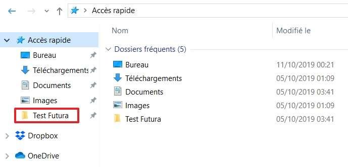 Vous pouvez désormais accéder à votre dossier rapidement quand vous ouvrez l'Explorateur de fichiers. © Microsoft