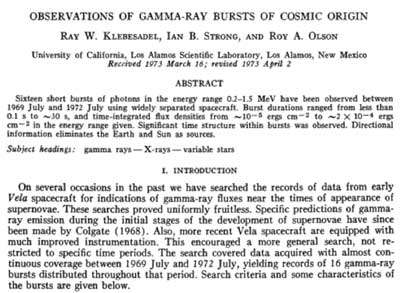 Page de couverture de l'article paru dans une revue scientifique faisant état de la découverte de flashs particulièrement intenses de rayons gamma dont l'origine n'est ni terrestre ni solaire ! (Cliquez en bas à droite de l'image pour l'agrandir.)