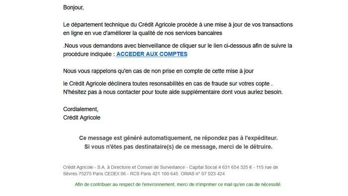 Un exemple de tentative de phishing reçu par l'auteur de ces lignes. © J.L