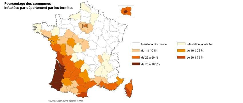 En France métropolitaine, 54 départements sont envahis par les termites. Les départements du Sud-Ouest sont particulièrement touchés. Suivent ceux de la côte Atlantique, du pourtour méditerranéen, de la vallée du Rhône, de la Garonne et la Loire et enfin de l'Ile-de-France. © Frédéric Burguière : source Observatoire National Termite