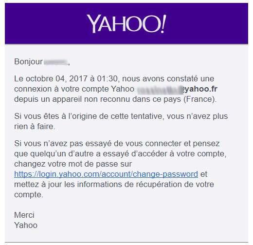 Cette capture d'écran du compte Yahoo! de l'auteur montre le message reçu dans la foulée de l'annonce par Verizon sur l'ampleur du piratage. © Marc Zaffagni, Futura