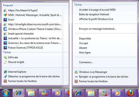 Les fameuses « jump lists » de Windows 7 © Futura-Techno