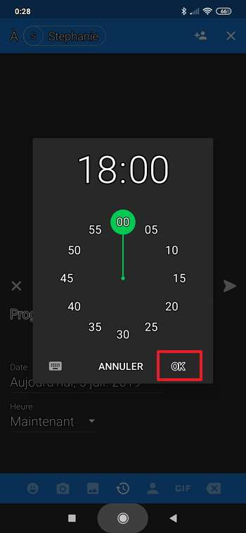 Choisir l'heure et la date d'envoi se fait très simplement sur Textra. © Delicious Inc.