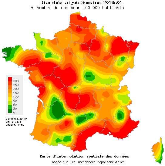 Carte de France de la gastro-entérite lors de la première semaine de janvier 2016. © Réseau Sentinelles