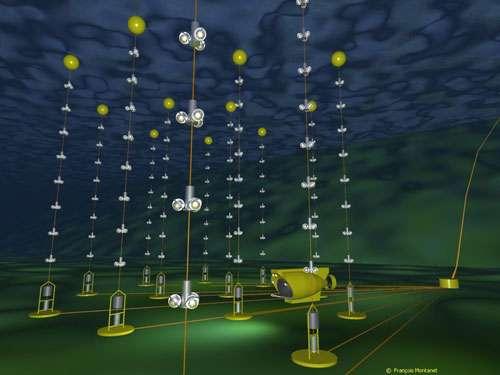 """Représentation en images virtuelles du détecteur sous-marin """"Antares"""". Ce télescope à neutrinos européen est installé par 2400 mètres de fond à 10 milles nautiques au sud de l'île de Porquerolles. Douze lignes de 400 mètres de long portant chacune 75 capteurs spéciaux (photomultiplicateurs) traqueront l'infime trace lumineuse laissée dans l'eau par un """"muon"""", particule chargée, issue de la rencontre rarissisme d'un atome de matière et d'un neutrino. Les chercheurs espèrent par ce procédé déduire la direction d'où proviennent les neutrinos. Une information qui permettrait d'en identifier la source : cataclysme cosmique ou matière nouvelle inconnue. © CNRS Photothèque/IN2P3 - Montanet François - Reproduction et utilisation interdites"""