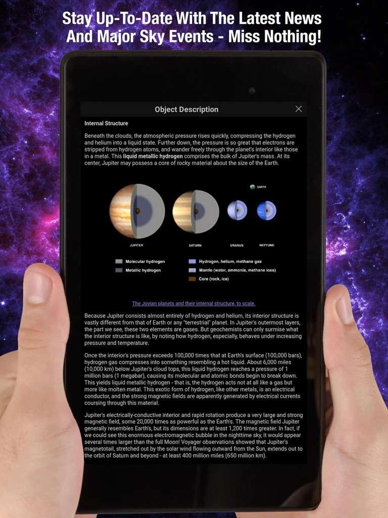 SkySafari est mis à jour régulièrement pour prendre en compte les évènements astronomiques récents © Simulation Curriculum Corp.