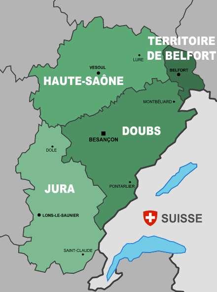 Carte montrant la Haute-Saône et les autres départements de l'ancienne région Franche-Comté. © Jérôme BLUM, Wikipédia, CC by-sa 2.0