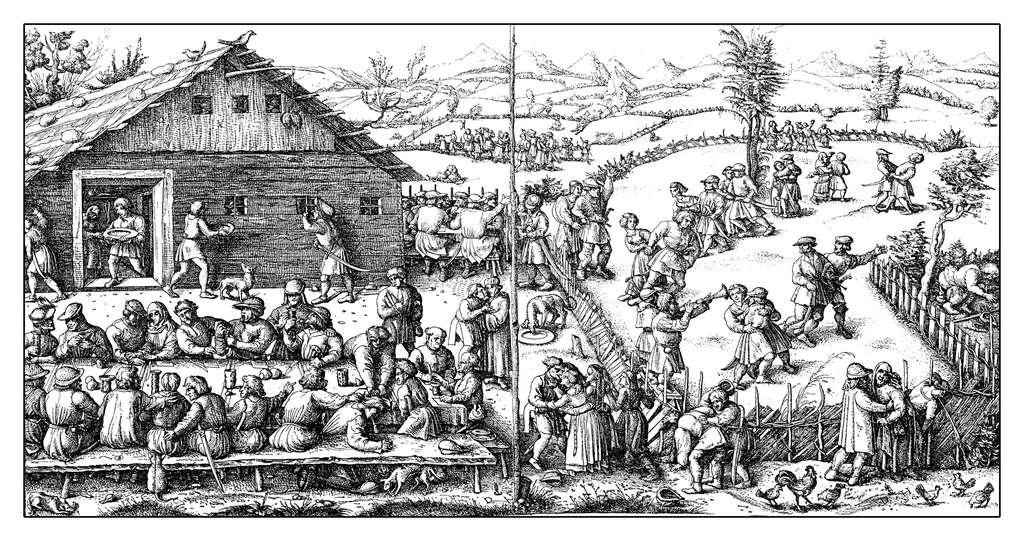 Fête rurale paysanne au Moyen Âge. © acrogame, fotolia