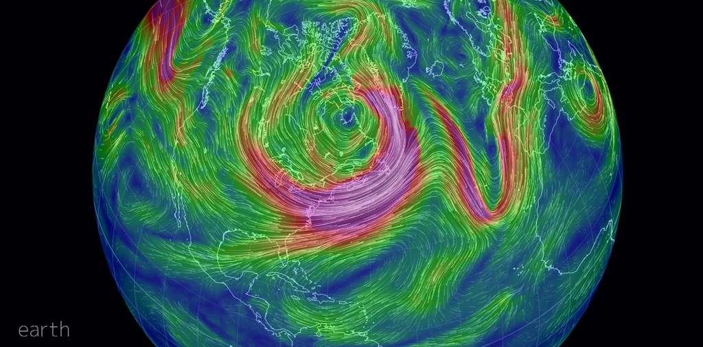 Sur cette carte, on peut observer la vitesse des vents à 500 hPa, observés le 7 janvier 2014, avec en violet les régimes de vents les plus rapides. Elle met en évidence le caractère sinusoïdal des vents en haute atmosphère. © Capture écran, http://earth.nullschool.net
